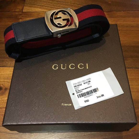 b9919fc8f57 AUTHENTIC MEN S RED   NAVY GUCCI BELT  SIZE 85